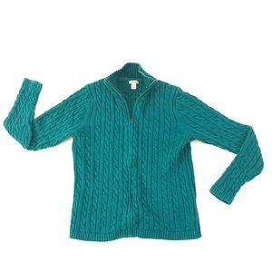 LL Bean Cable Knit Full Zip Sweater Teal Womens L